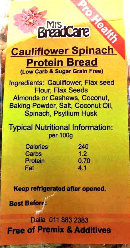 Mrs Bread Care Cauliflower Spinach Protein Bread – TOPIC SA Blog